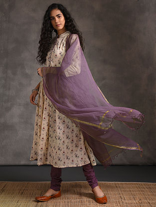 Purple Kota Cotton Dupatta Zari