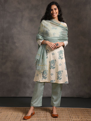 Teal Kota Cotton Dupatta Zari
