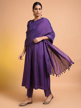 Purple Handloom Silk Cotton Dupatta with Tassels