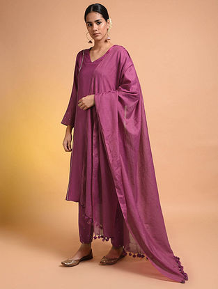 Pink Handloom Silk Cotton Dupatta with Tassels