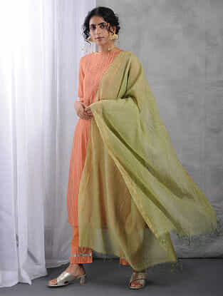 Green Crinkled Silk Cotton Dupatta with Zari