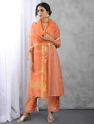 Orange Organza Dupatta with Zari