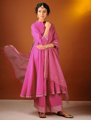 Pink Cotton Dupatta with Zari