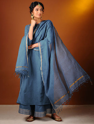 Blue Cotton Dupatta with Zari