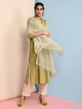 Ivory Cotton Dupatta with Zari