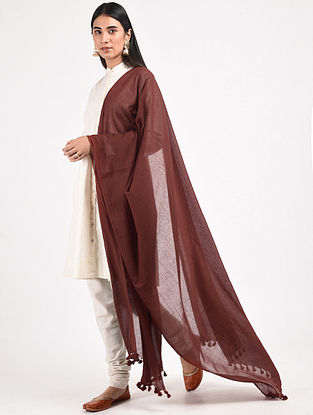 Maroon Handloom Cotton Dupatta with Tassels