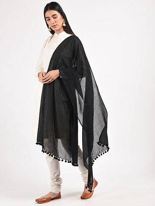 Black Handloom Cotton Dupatta with Tassels