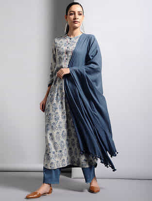Indigo Cotton Dupatta with Tassels