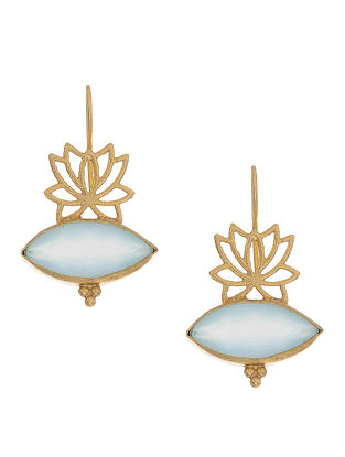 Aqua Chalcedony Gold-plated Silver Earrings
