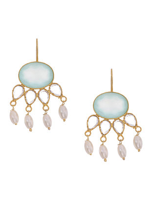 Aqua Chalcedony Gold-plated Silver Earrings with Pearls