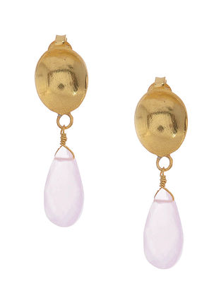 Rose Quartz Gold-plated Silver Earrings