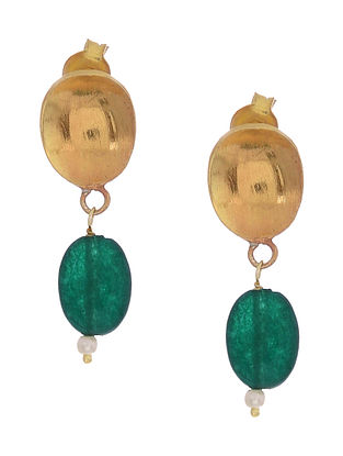 Green Onyx Gold-plated Silver Earrings