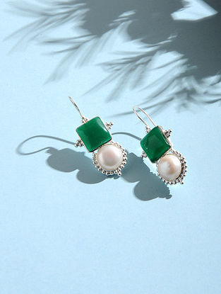 Green Onyx and Pearl Silver Earrings