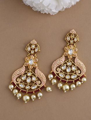 Pink Gold Tone Kundan Enameled Earrings With Pearls