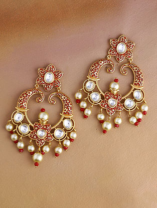Red Gold Tone Kundan Enameled Earrings With Pearls