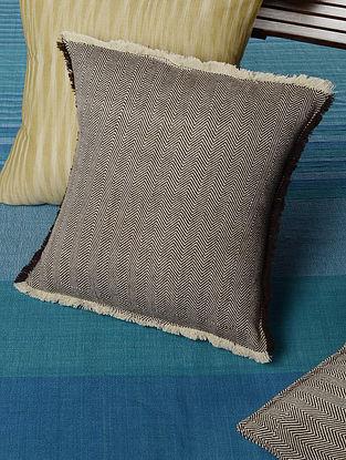 Raw edged Chevron Khadi Cushion Cover  14in x 14in