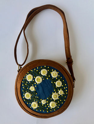 Blue-Mustard Handcrafted Denim Sling Bag