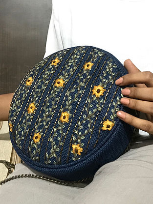 Blue-Mustard Handcrafted Jute Sling Bag