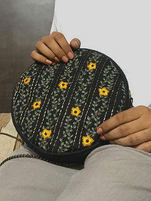 Black-Mustard Handcrafted Jute Sling Bag