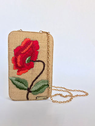 Beige-Red Handcrafted Jute Clutch