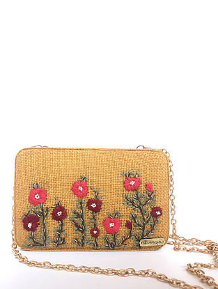 Mustard-Red Handcrafted Jute Clutch