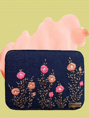 Navy Blue-Pink Handcrafted Jute Clutch