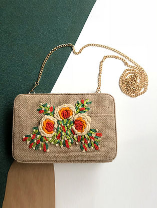 Beige-Multicolored Handcrafted Jute Clutch