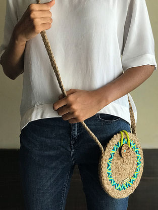 Beige-Green Handcrafted Jute Sling Bag