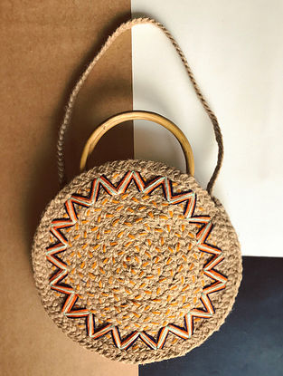 Beige-Orange Handcrafted Jute Sling Bag