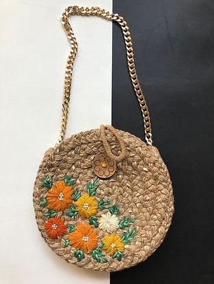 Beige Handcrafted Jute Sling Bag