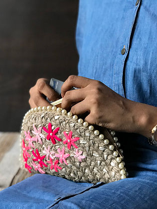 Brown Handcrafted Half Moon Clutch with Gota Patti and Pom Pom