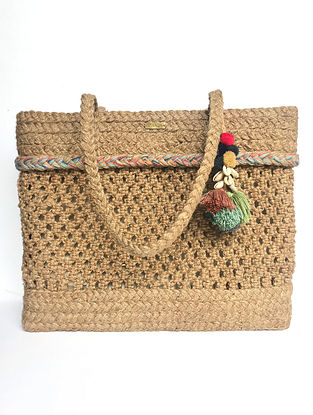 Brown Handcrafted Jute Tote Bag with Shell Tassels