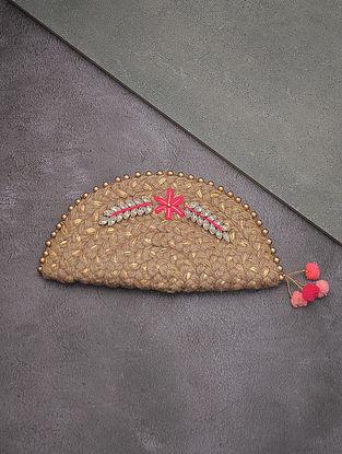 Beige-Golden Hand-Braided Jute Clutch with Kundan Embellishments