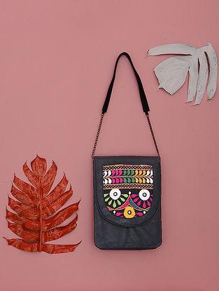 Black-Multicolored Kathiyawadi-Embroidered Cotton Sling Bag