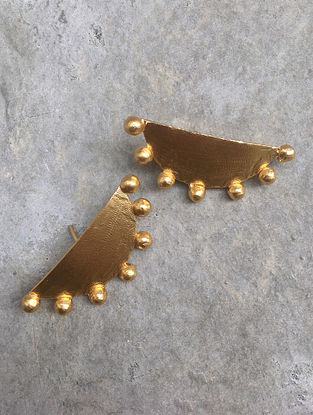 Classic Gold Tone Brass Stud Earrings