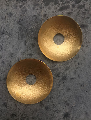 Classic Gold Tone Brass Stud Earrings
