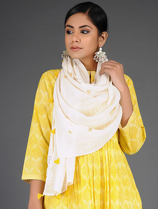 Yellow Cotton Linen Stole