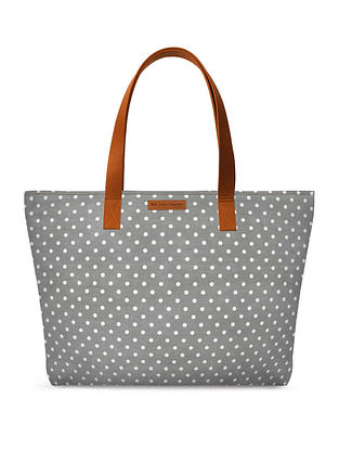 Grey White Printed Tote Bag
