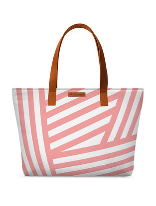 Pink White Printed Tote Bag