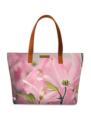 Pink Green Printed Tote Bag