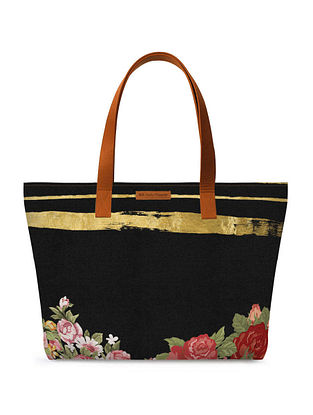 Black Multicolored Printed Tote Bag