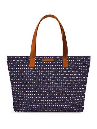 Blue Multicolored Printed Tote Bag