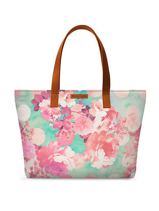 Teal Pink Printed Tote Bag