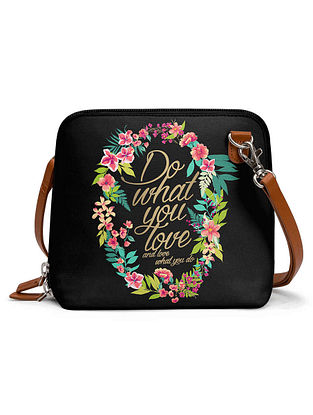 Black Multicolored Printed Sling Bag