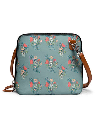 Powder Blue Multicolored Printed Sling Bag