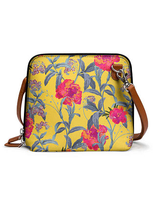 Yellow Multicolored Printed Sling Bag