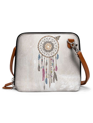 Cream Multicolored Printed Sling Bag