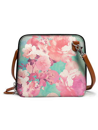 Teal Pink Printed Sling Bag