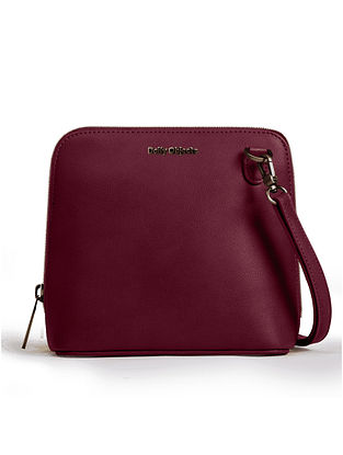Maroon Vegan Leather Sling Bag