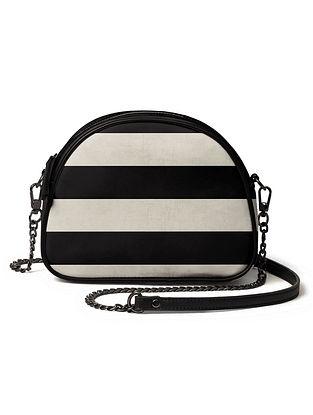 White Black Printed Canvas Crossbody Bag